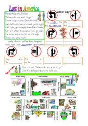 English Worksheet: Lost in America in colour and greyscale
