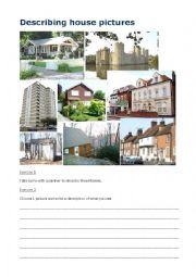 English Worksheet: Describing House Pictures