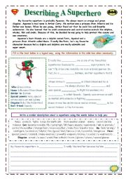 Printables Superhero Teacher Worksheets english teaching worksheets superheroes describe a superhero