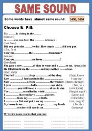English Worksheets: Words of same sound