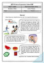 English Worksheets: English Test (3) 7th level (End of term (3) Reading, language, writing)