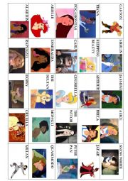 English Worksheets: Guess Who! Disney Version (physical description, Yes/No questions, Be, Have got)