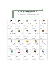 English Worksheet: 80 Icons Pics for Short and Long Vowel