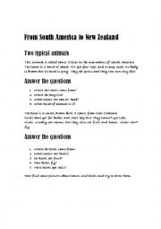 English Worksheet: from South America to New Zealand