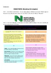 English Worksheet: NATURAL HISTORY MUSEUM. READING STRATEGIES (Scanning for main topic)