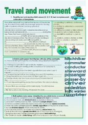 English Worksheets: Travel and Movement