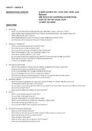 English Worksheets: Trinity Grade 5: QUESTIONS