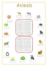 English Worksheets: animals crossword puzzle
