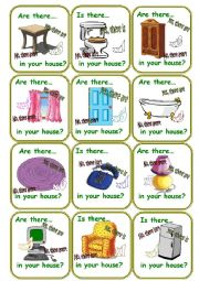 English Worksheet: Go fish Furniture cards!!