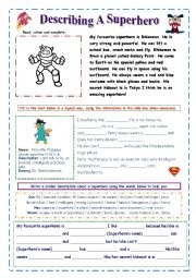 English Worksheet: Describe a Superhero (easy)