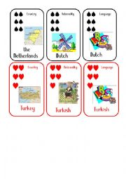 English Worksheet: Countries and Nationalities Card Game  10 The Netherlands Turkey