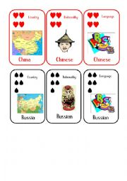 Countries and Nationalities Card Game  12 China Russia