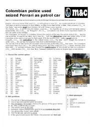 English Worksheets: Colombian Police Used seized Ferrari as Patrol Car