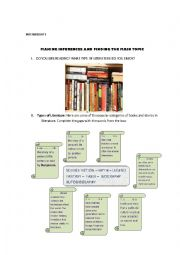 English Worksheets:  Reading about different types of literature and literature reviews. READING STRATEGIES (MAKING INFERENCES AND MAIN TOPIC)