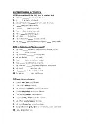 English worksheet: Present simple activities