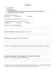English Worksheet: New York Webquest Ellis Island