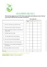 English Worksheets: How green are you?