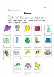 English Worksheet: clothing items