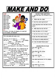 English Worksheets: MAKE AND DO -  With Answer Key