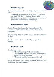 English Worksheets: cells