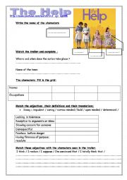 English Worksheet: The Help