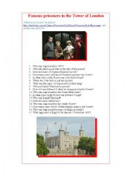 English Worksheet: Famous prisoners of the Tower of London