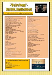 English Worksheets: We are young - song listening