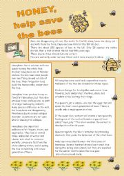English Worksheets: Honey, help save the bees
