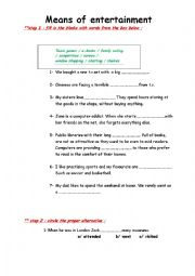 English Worksheets: means of entertainment