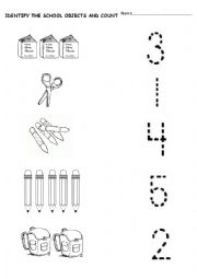 numbers and school objects - ESL worksheet by andreabb15