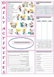 English Worksheets: Daily Activities (Vocabulary Exercises)