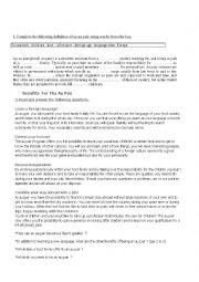 English Worksheet: Being an au pair