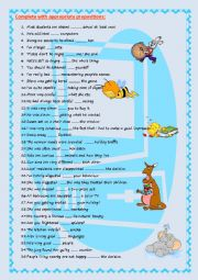 English Worksheet: Adjectives followed by prepositions (key included)