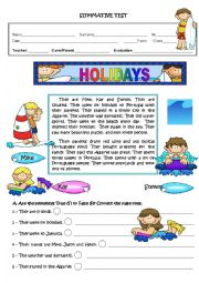 English Worksheets: HOLIDAYS - FINAL TEST