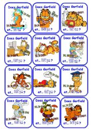 English Worksheet: Garfield daily routine and time go fish cards!