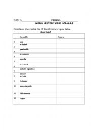 English worksheets: World History welcome word scramble