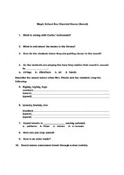 English Worksheet Sound The Magic School Bus Haunted House
