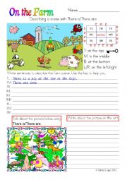 English Worksheet: On the farm locations in colour and greyscale