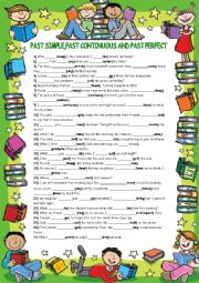 English Worksheet: past simple,past continuous and past perfect
