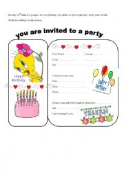 Writing a birthday invitation esl worksheet by akrios english worksheet writing a birthday invitation stopboris Images