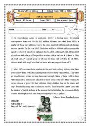English Worksheet: English Test (3) 9th level (End of term (3) Reading, language, writing)