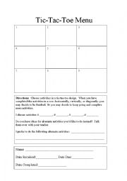 English Worksheets: Blank Tick Tac Toe Template
