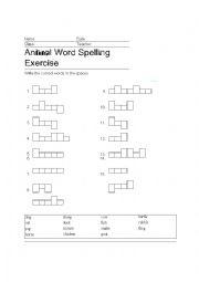 English Worksheets: animals speling