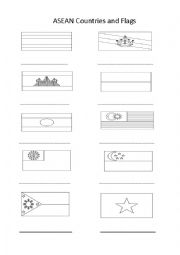 English Worksheet: ASEAN country flags to name and colour.