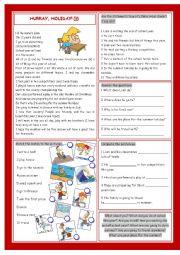 English Worksheets: Hurray, Holiday!:)))