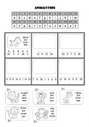 English Worksheets: Animals code