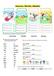 English Worksheet: SEASONS MONTHS WEATHER