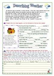 English Worksheet: Describe the Weather