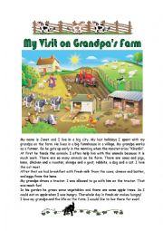 English Worksheet: My Visit on Grandpa�s Farm