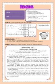 English Worksheets: obsessions